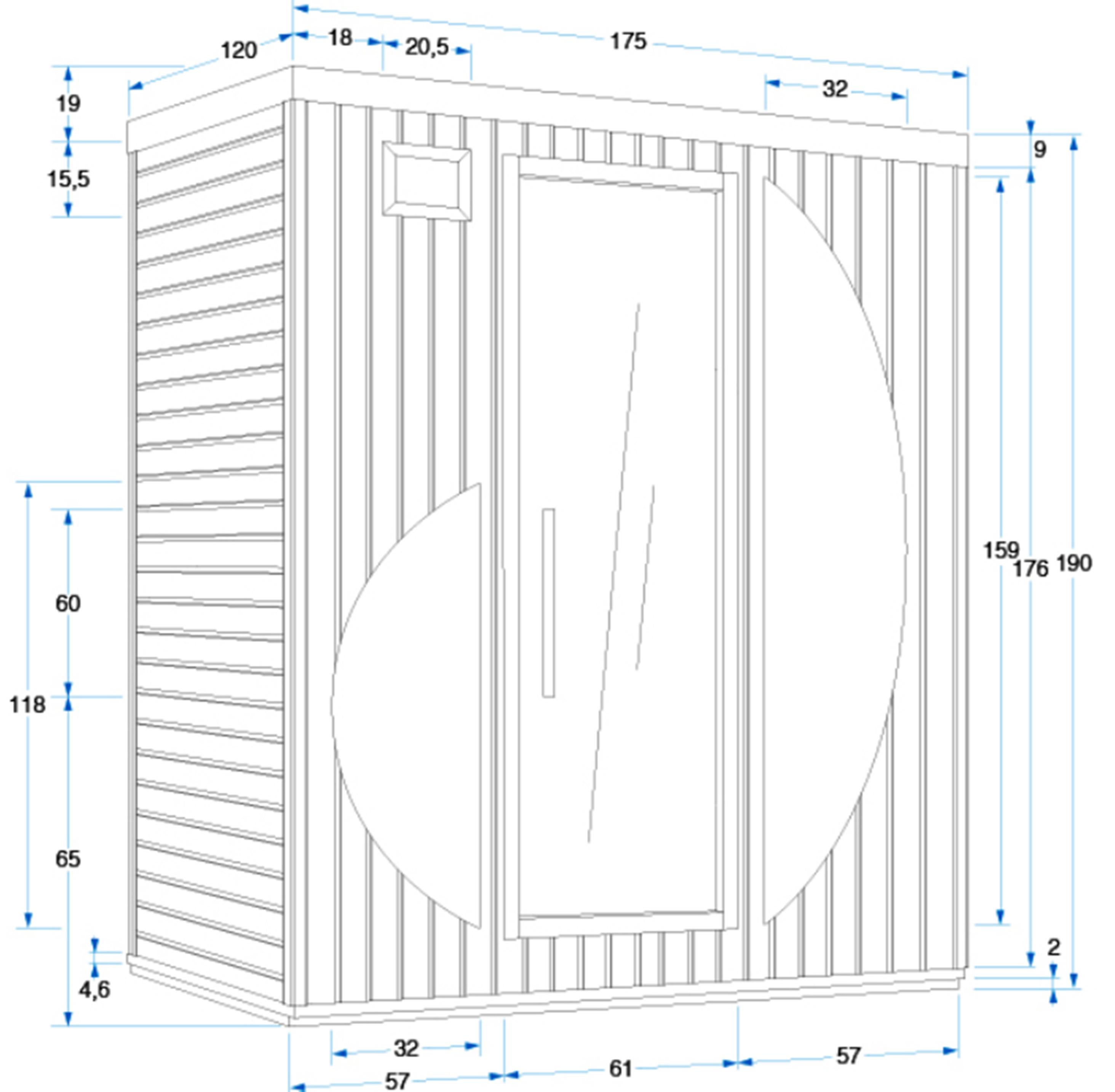 Инфракрасная сауна Rowen - размер