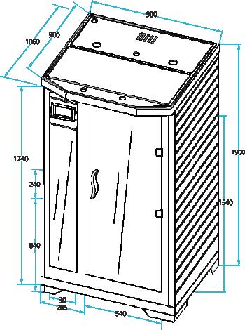 Інфрачервона сауна Arawa - розміри