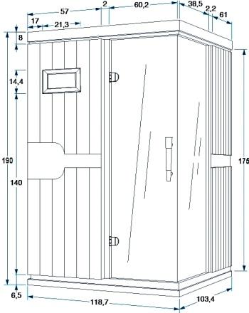 Инфракрасная сауна Isabel 2 - размер