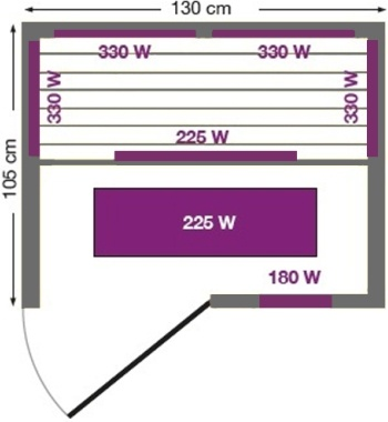 Инфракрасная сауна Lily 2 - план сверху